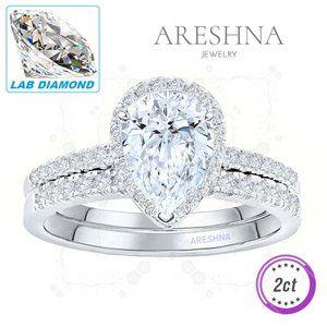 2Pcs 2ct Lab Diamond Pear Cut Engagement Ring